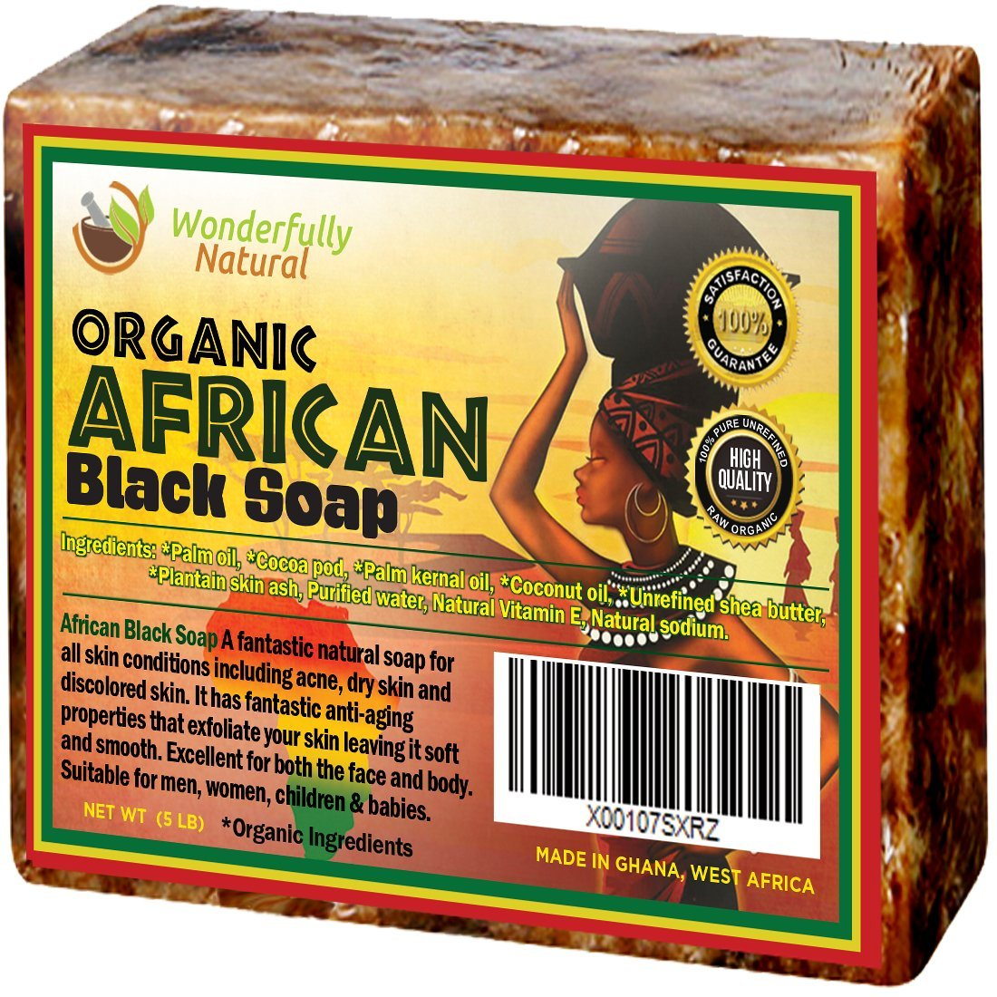 Organic African Black Soap - 5 Pound Best for Acne Treatment, Eczema, Dry Skin, Psoriasis, Scars, Dermatitis, White Heads Pimples, Anti-fungal Face & Body Wash, Raw Handcrafted Beauty Scrub Bar ...