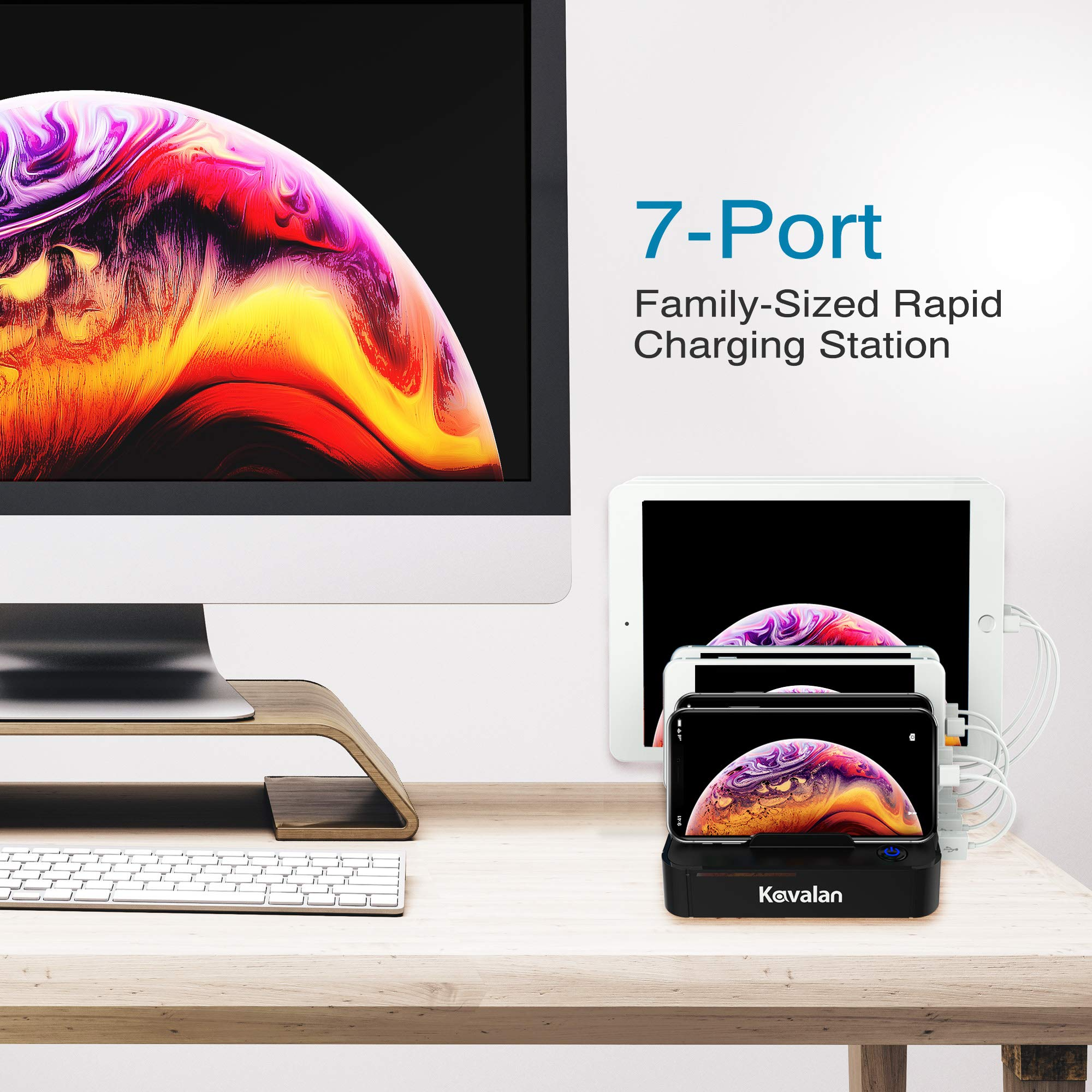 Kavalan 7 Port USB Charging Station Dock & Organizer with 2 Fast Charging Port, Universal Desktop Tablet & Smartphone Multi-Device Charger Hub with Smart Rapid Charging Ports_5 Cables Included