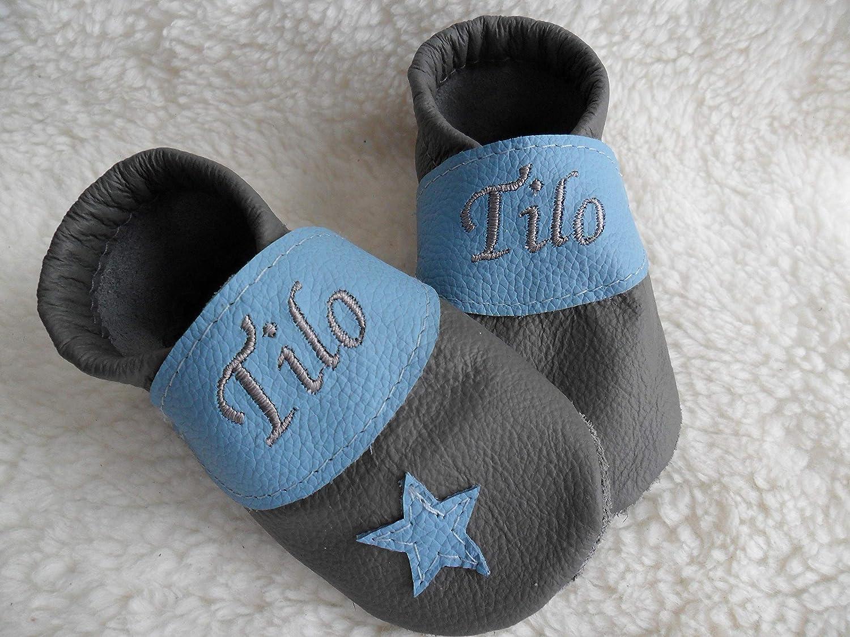 Annes-Lederpuschen Krabbelschuhe mit Namen Taufschuhe Babyschuhe personalisiert Lederpuschen Jungen Geburtsgeschenk grau/hellblau