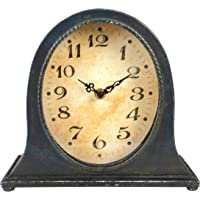 Creative Co-Op Metal Distressed Navy Finish Mantel Clock, Blue