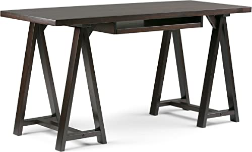 SIMPLIHOME Sawhorse SOLID WOOD Modern Industrial 60 inch Wide Home Office Desk