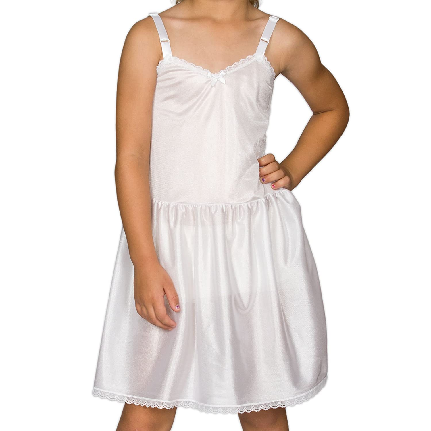 I.C. Collections Big Girls White Adjustable Nylon Slip, 8 New ICM 000473-WHC
