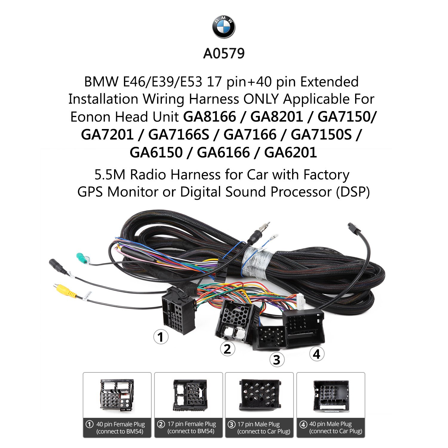 Eonon Installation Wiring Harness Cable 17pin 40pin Only Fit Bmw Car Ga9150kw A0579 Electronics