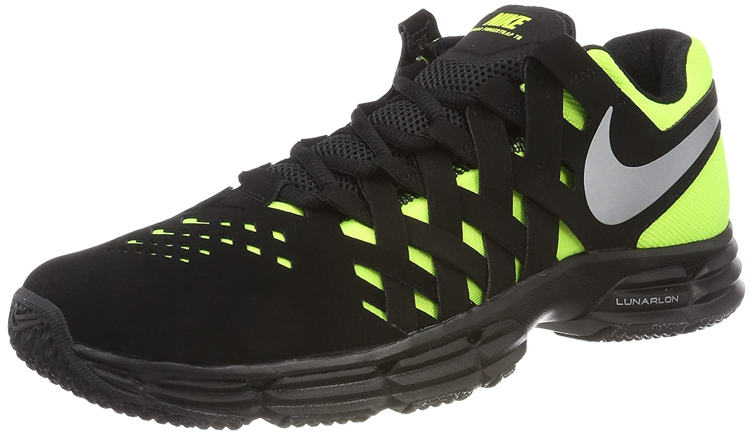 NIKE Men's Lunar Fingertrap Cross Trainer B00ITDUAQO 9.5 D(M) US|Black/Metallic Silver/Volt