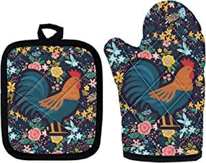 WELLFLYHOM Pot Holders Oven Mitt Set 2 Packs, Funny Cute Chicken Floral Rooster Pattern, Machine Washable Heat Resistant Potholder, Thick Lining Kitchen Gloves and Hot Mats for Barking