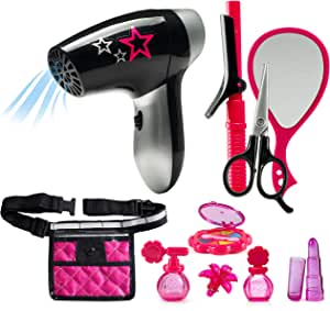 JaxoJoy Beauty Stylist Set - Complete Play Pretend Hair Salon Station Gift Playset for Girls with Toy Blow Dryer, Curler, Scissors, Comb, Mirror & Other Styling Tools - Recommended Ages 3+