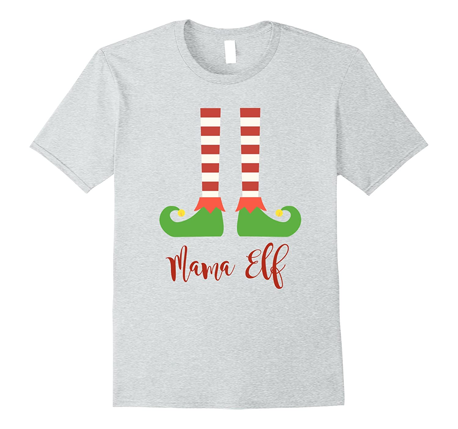 Mama Elf Family Christmas T Shirt in Script Font-ANZ