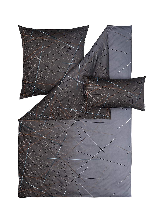 Estella Mako Satin Bettwäsche Olivier Farbe Graphit in 2 Größen, 6tlg Set 2X 135x200 + 2X 80x80 + 2X 40x80 cm 100% Baumwolle