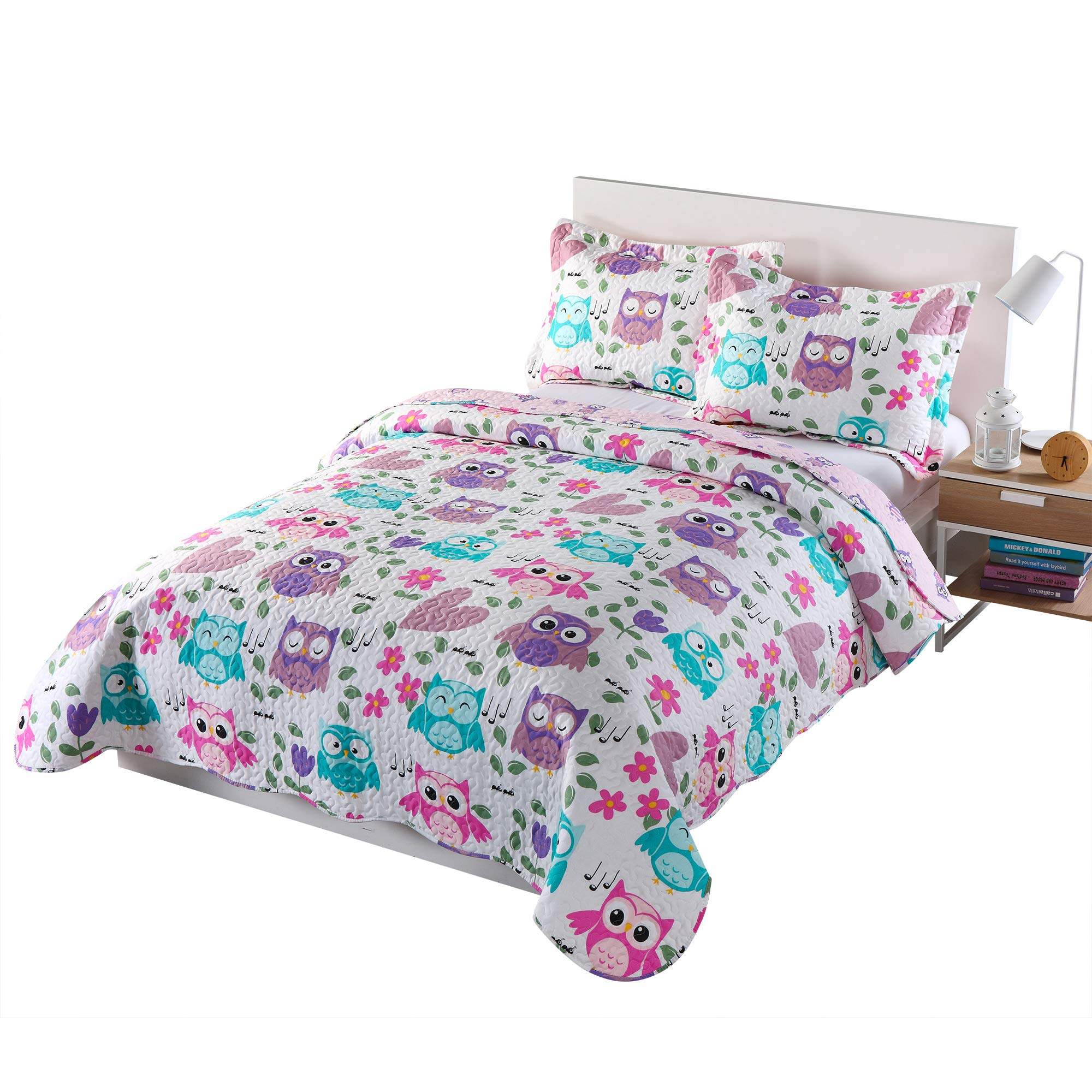 MarCielo 3 Piece Kids Bedspread Quilts Set Throw Blanket for Teens Boys Girls Bed Printed Bedding Coverlet, Full Size, Purple Hoot (Full) by MarCielo