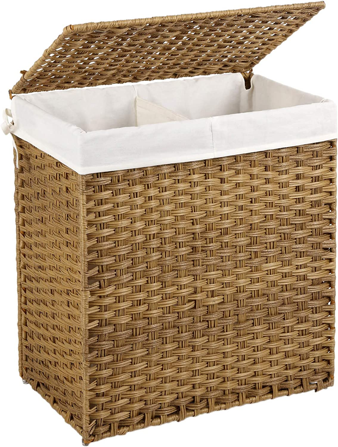 SONGMICS Handwoven Laundry Basket, 110L Synthetic Rattan Divided Clothes Hamper with Lid and Handles, Foldable, Removable Liner Bag, Natural LCB52NL