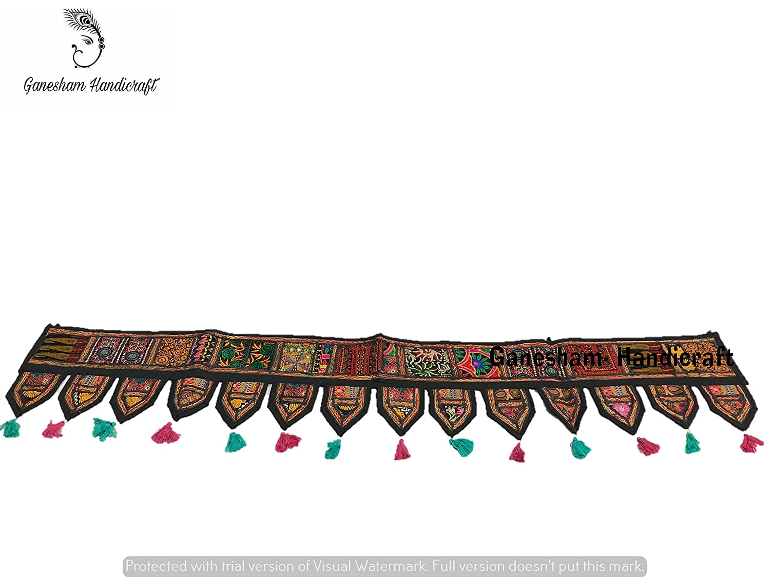 Indian Cotton Ethnic Wall Hanging Home Decor Vintage Patchwork Door Topper Valances Window Indian Valances Hand Embroidered Patchwork Toran Boho Bohemian Decor Living Room Decor ''80'' GANESHAM HANDICRAFT