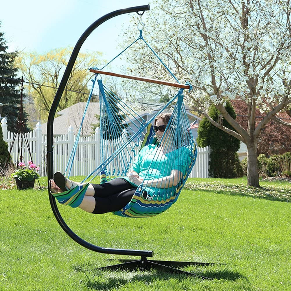 Sunnydaze 26 Inch Wide Hanging Hammock Chair with Footrest and 7 ft C-Stand - Ocean Breeze - 300 lbs Weight Capacity