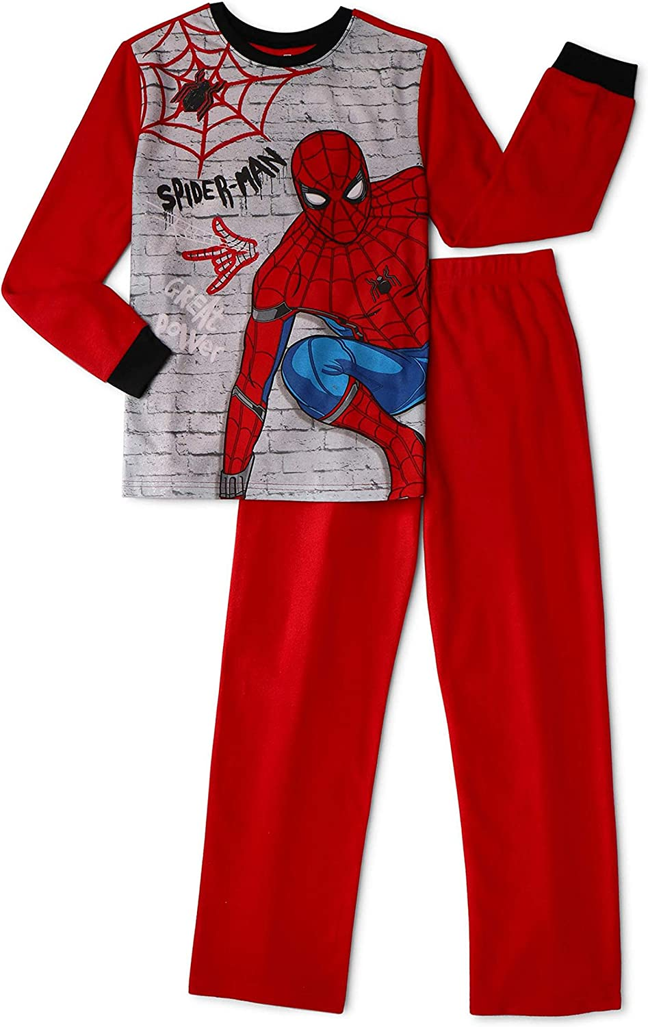 Marvel Little and Big Boys Spiderman 2 Piece Pajama Sleepwear Set 816N2Br5q5mL