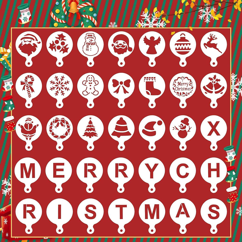 vamei 35pcs Modelli di Stencil di Natale plastica Disegno Pittura Stencil Modello Set Riutilizzabile mestiere per Arte Disegno Pittura a spruzzo Finestra Porta in Vetro carrozzeria Auto in Legno