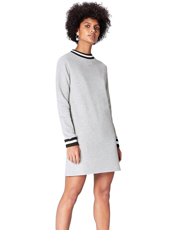 TALLA 36 (Talla del fabricante: X-Small). Marca Amazon - find. Vestido Mini Estilo Sudadera para Mujer Gris 36 (Talla del fabricante: X-Small)