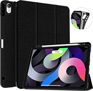 Soke iPad Air 4 Case 10.9 Inch 2020 with Pencil Holder - [Full Body Protection + Apple Pencil Charging], Soft TPU Back Cover for 2020 New iPad Air 4th Generation,Black