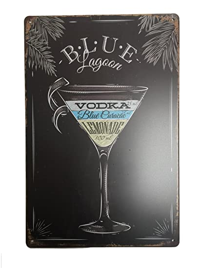 Blue Lagoon Cocktail Tin Sign – Placa metálica diseño Retro Vintage para pared 20 x 30