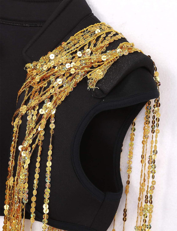 Freebily Coprispalle Donna Elegante Cerimonia Sciarpa con Frange Bolero Paillettes Gilet Dancewear Top Danza Moderna Hip Hop Jazz Cardigan Corto Primavera Carnevale