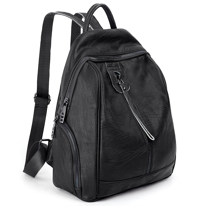 Amazon.com: UTO Women Backpack Purse PU Washed Leather Front Anti-theft Zipper Pocket Ladies Rucksack Shoulder Bag Black: Clothing