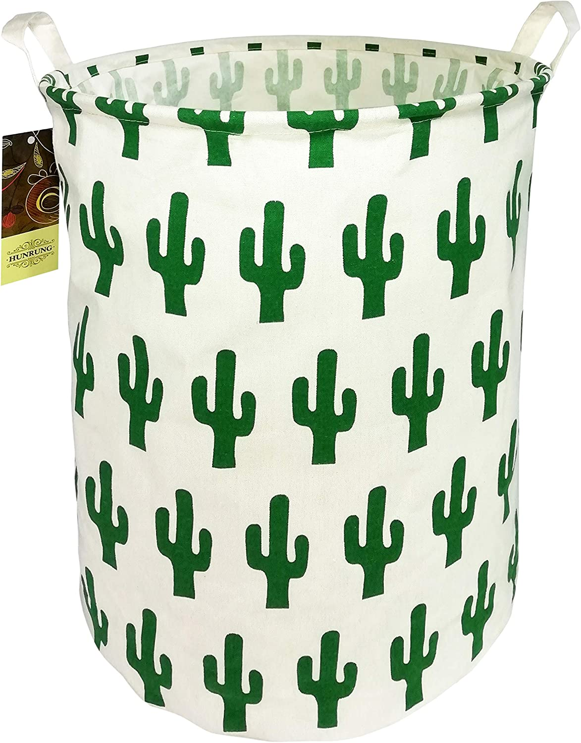 HUNRUNG Large Canvas Fabric Lightweight Storage Basket/Toy Organizer/Dirty Clothes Collapsible Waterproof for College Dorms, Kids Bedroom,Bathroom,Laundry Hamper (Green Cactus)
