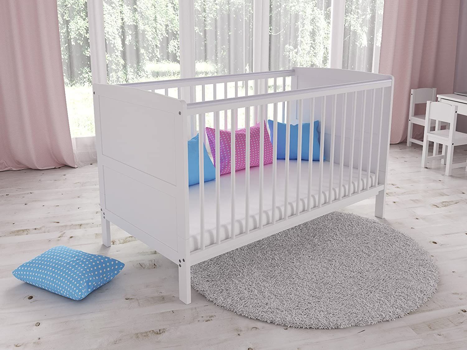 Convertible White Wooden Baby Cot Bed + Foam Mattress with Antibacterial Aloe Vera Cover Love For Sleep