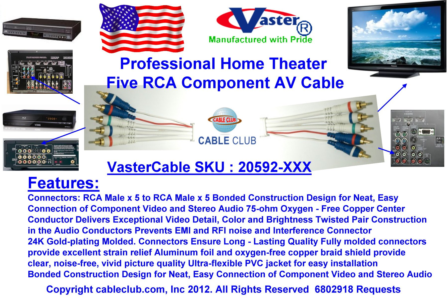 SuperEcable - 100 Ft, Professional Home Theater 5 RCA Component Audio & Video Cable by Vaster