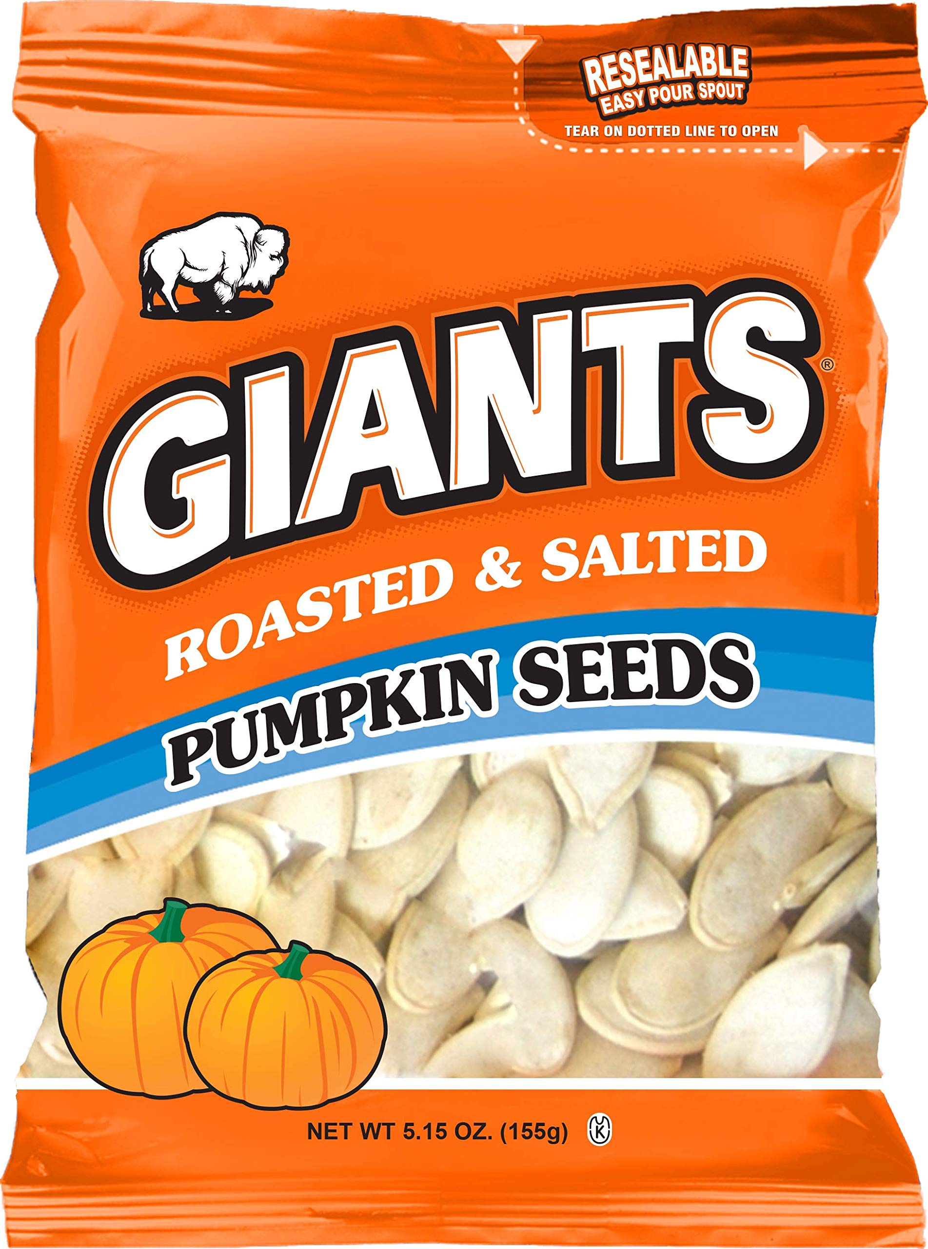 GIANTS Pumpkin Seeds, Roasted and Salted 5.15 oz. (Package of 12)