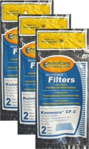 (6) Kenmore CF2 Foam Safety Vacuum Filters, Upright, Progressive Vacuum Cleaners, 86884, 20-86884C, 2086884, 4370432, 610488