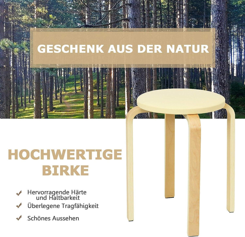 YJYDD 4er Set Holzhocker Sitzhocker Hocker G/ästehocker Stapelhocker Massiv Gepolstert