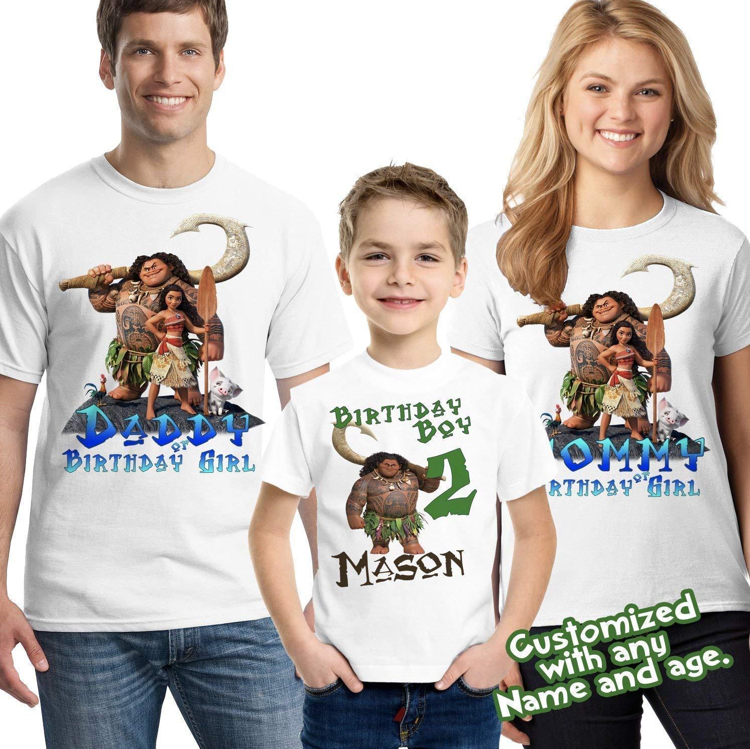 Moana Maui Birthday Boy Shirt Add Name AGE Personalized Family Party