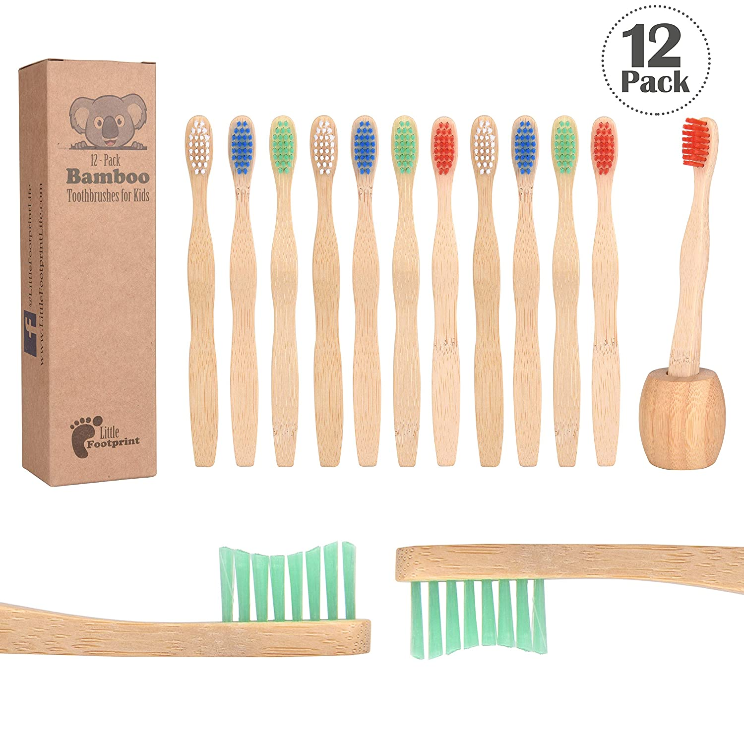 Bamboo Toothbrush for Kids | 12 Pack toothbrushes + Tooth Brush Holder | Biodegradable Compositable...