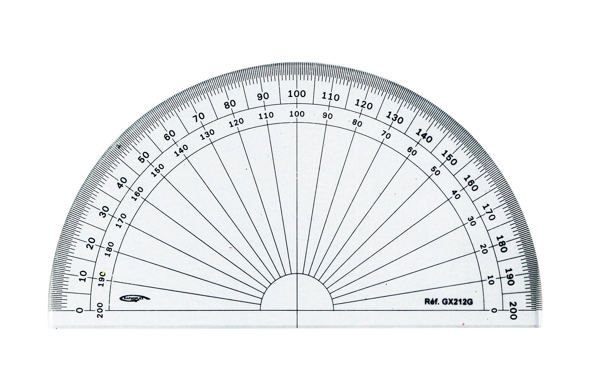 GX212G Grapholex-Protractor-Semi-Circle-Clear