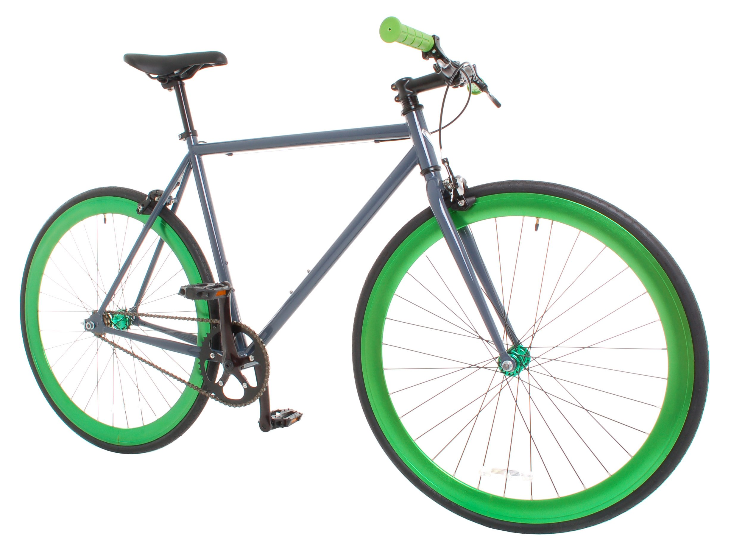 Vilano Rampage Fixed Gear Fixie Single Speed Road Bike, Grey/Green, Large/58cm