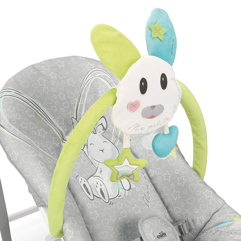 H/äschen grau CAM Babywippe GIOCAM Babyschaukel mit 3 verstellbaren R/ückelehnen-Positionen kompakt mit Transportgriff Spielstange mit entfernbaren Pl/üschtieren
