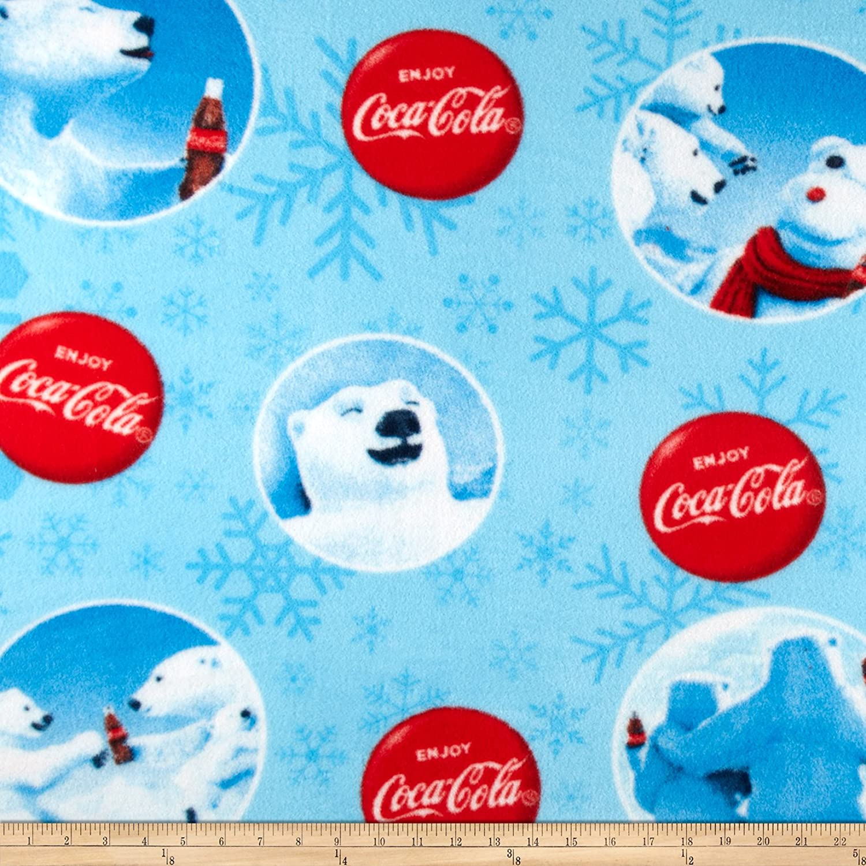 Fabrique Innovations, 0378797 Coca Cola Fleece Coca Cola Bears Allover Fabric by The Yard, Blue