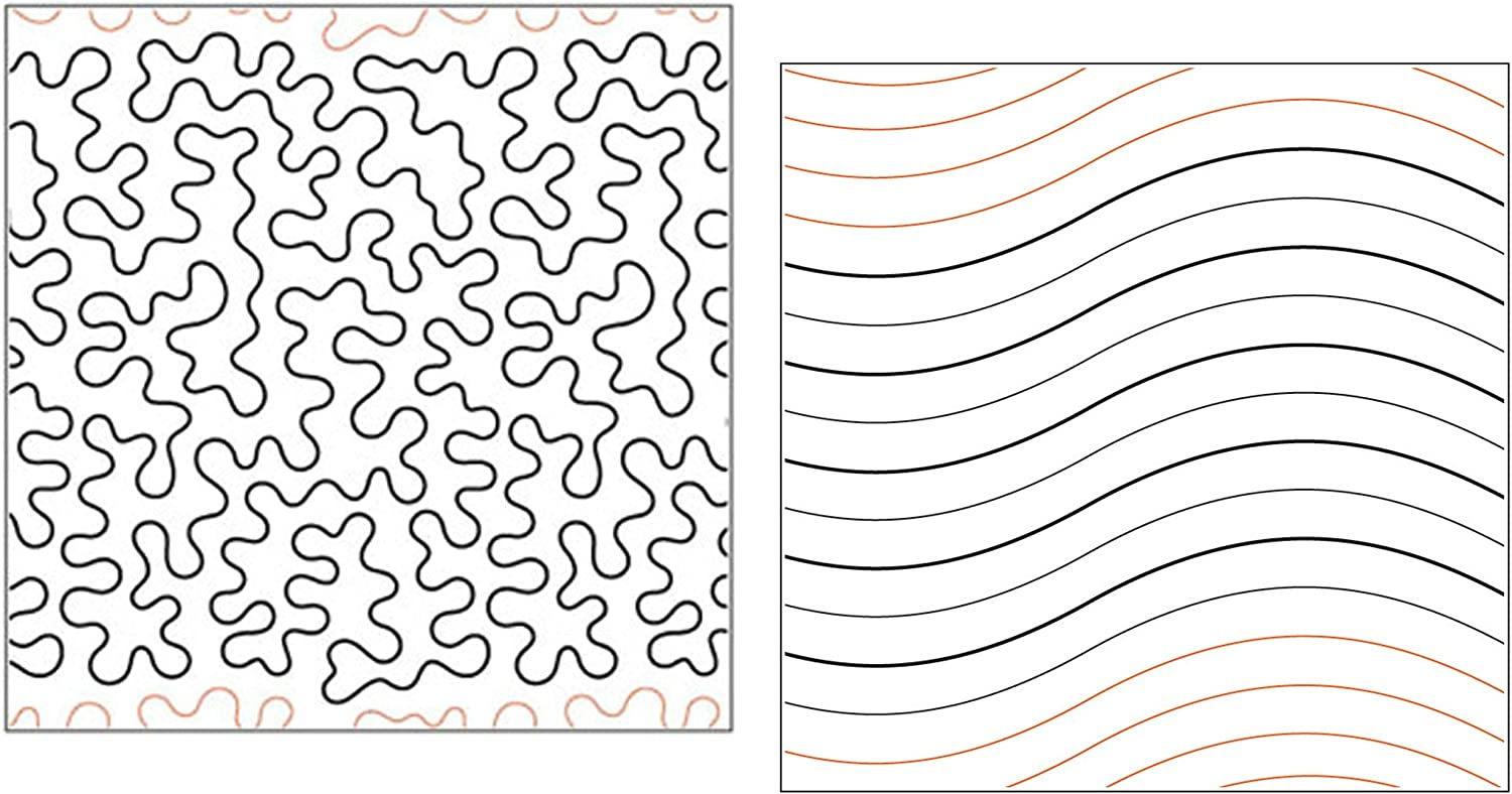 Set of 2 Rolls of Paper Pantograph Patterns for Longarm Quilting Machines Quilting Creations Pantographs for Quilting Basic Stipple and Waves Design Quilt Pantographs