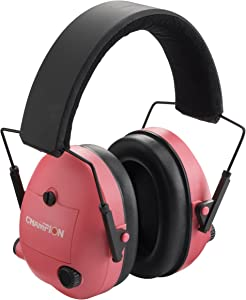 Champion Traps and Targets, Ear Muffs, Electronic, Pink, Adjustable, (Model: 40975)