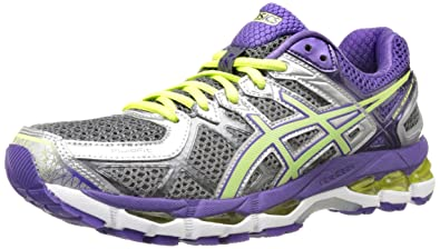 ASICS Women's Gel-Kayano 21 Running Shoe,Charcoal/Sharp Green/Purple,