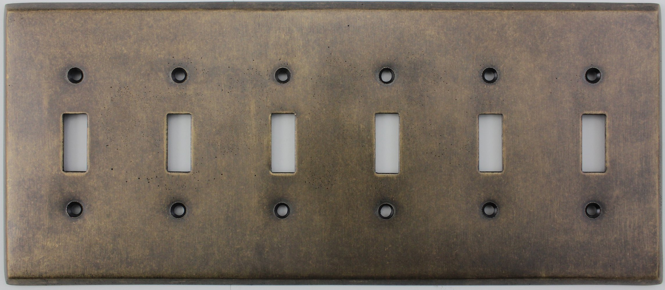 Aged Antique Brass 6 Gang Toggle Light Switch Wall Plate