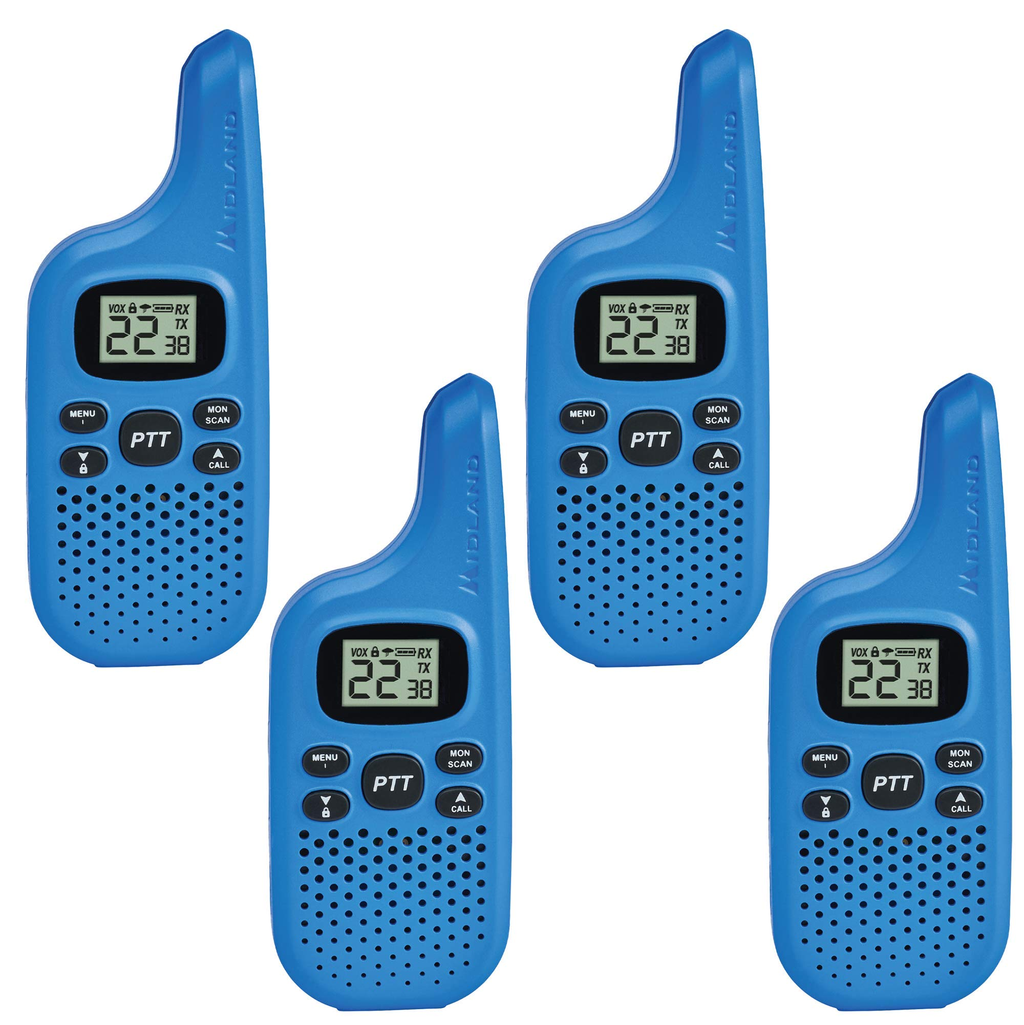 Midland - X-TALKER T20X4, Bright Color & Fun for Kids | 22 Channel FRS Walkie Talkie - Up to 16 Mile Range Two-Way Radio, 38 Privacy Codes, NOAA Weather Alert (4 Pack) (Blue) by Midland