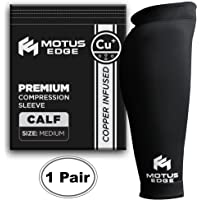 Motus Edge Copper Infused Calf Compression Sleeve for Shin Splints, Leg Cramps, Crossfit, Pain Relief (2-Pack - Medium)