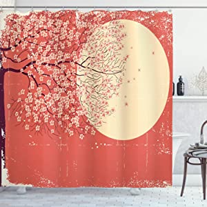 Ambesonne Spring Shower Curtain, Grunge Asian Illustration of Cherry Blossom Sakura Tree Branches on a Full Moon Japanese Style Art, Cloth Fabric Bathroom Decor Set with Hooks, 70