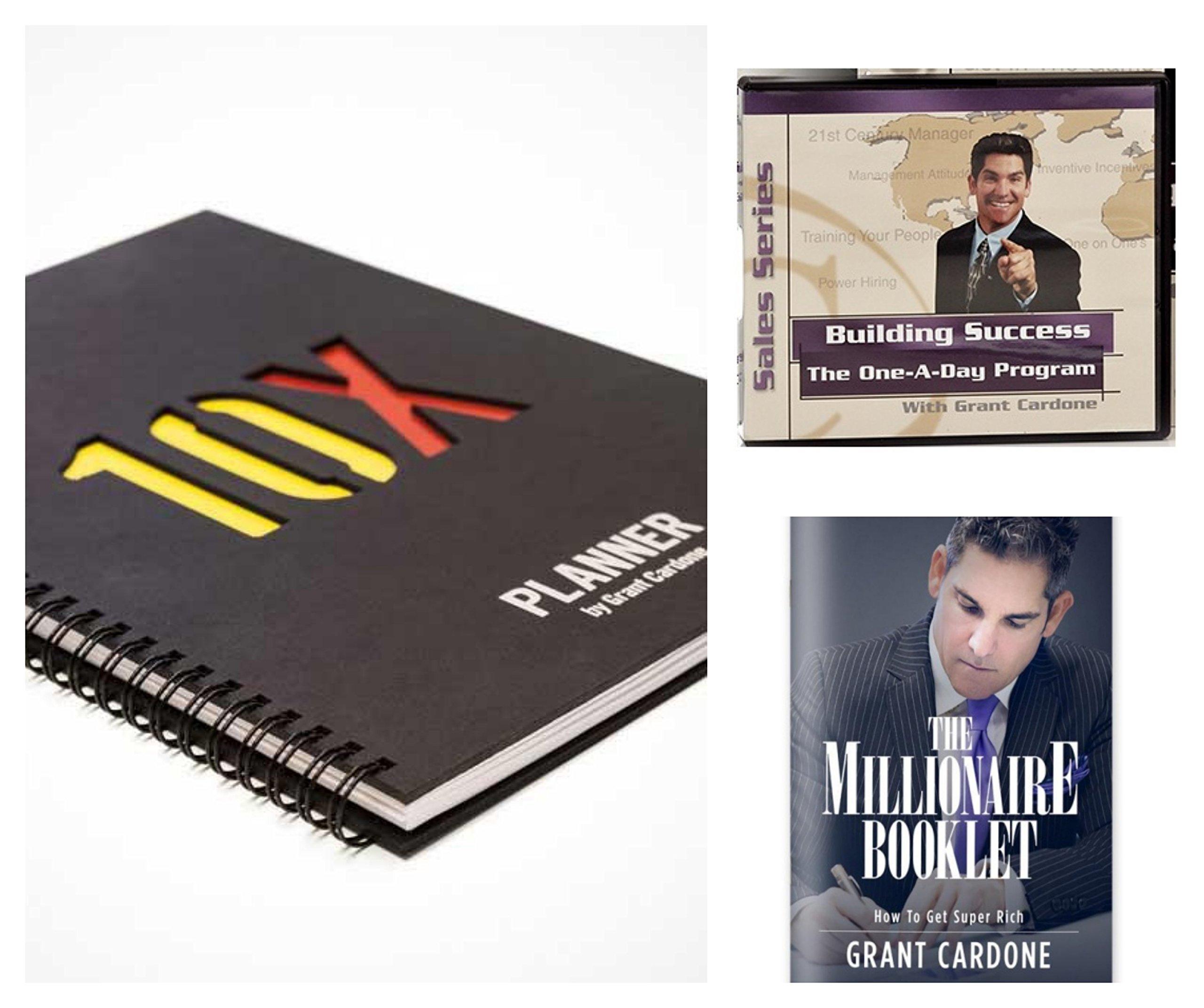 Grant Cardone 10X Planner Bundle with Building Success The Automotive One-A-Day Sales Series Audio Program & The Millionaire Booklet