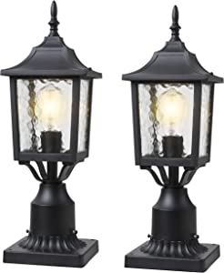 BEEZOK Exterior Lantern Outdoor Post Light - 2 Pack Post Lighting, Matt Black Pillar Lamp Fixtures with Water Rippled Glass for Patio Porch Garden Decor