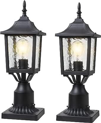 BEEZOK Exterior Lantern Outdoor Post Light - 2 Pack Post Lighting, Matt Black Pillar Lamp Fixtures with Water Rippled Glass for Patio Porch Garden Decor