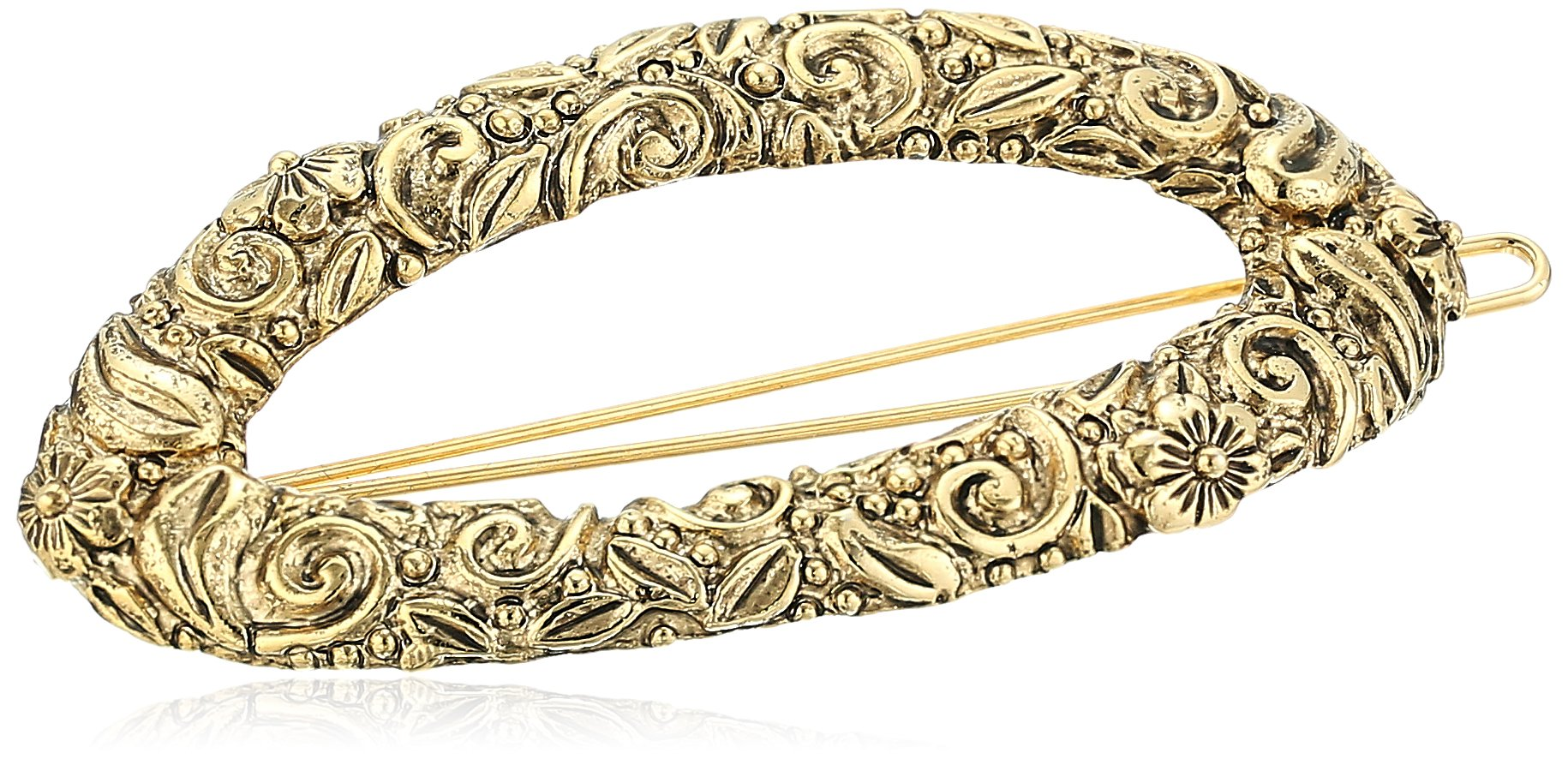 1928 Jewelry Womens Gold-Tone Floral Hair Barrette Accessory, 2.5