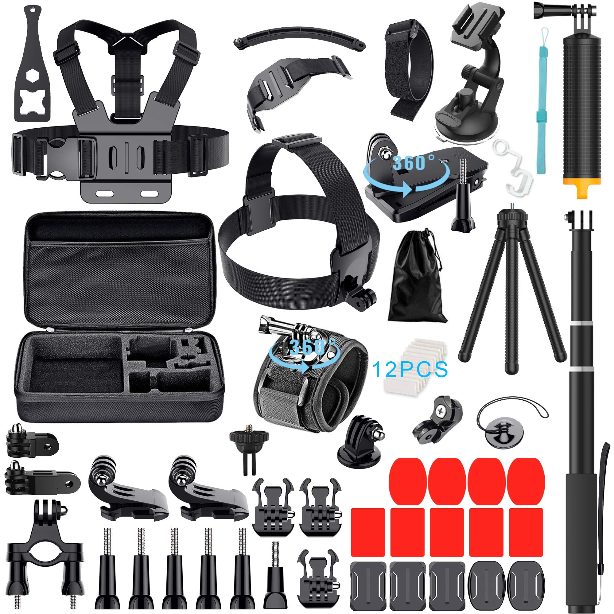 61-In-1 Action Camera Accessories Kit for GoPro Hero 7 6 5 4 3+ Hero Session 5 Black Accessory Bunble Set for AKASO APEMAN DBPOWER Xiaomi Yi SJ6000 Campark Rollei Lightdow Sony Sports DV Action Camera by Erligpowht