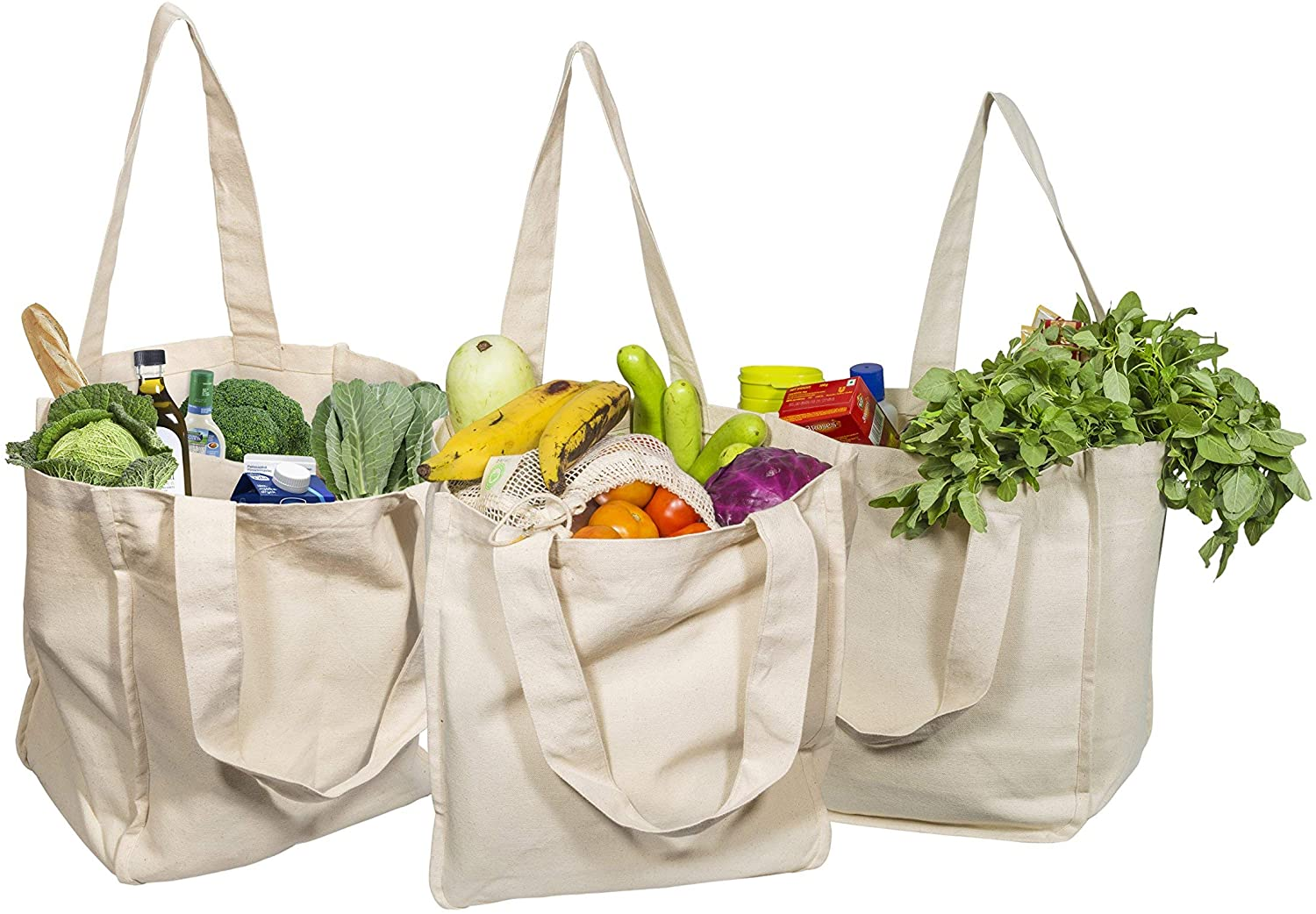 Amazon.com: Best Canvas Grocery Shopping Bags - Canvas Grocery Shopping Bags  with Handles - Cloth Grocery Tote Bags - Reusable Shopping Grocery Bags -  Organic Cotton Washable & Eco-friendly Bags (3 Bags):