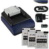 4x Akku (1100 mAh) + Dual-Ladegerät (Netz+Kfz+USB) für Rollei Actioncam 420 (4K Ultra WiFi)