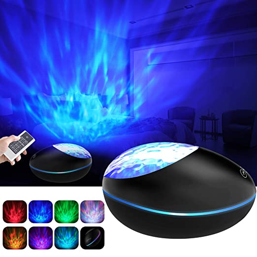 Lámpara Proyector Océano Ola Bluetooth, 360° Rotación Músic Lampara con Control Remoto y Temporizador, 8 Música, 8 Modos Color Romántica luz Noche Luz ...